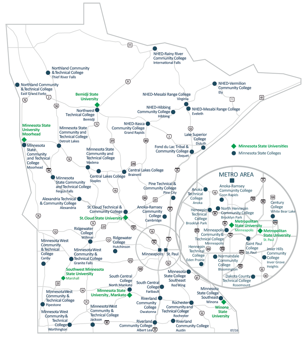 Minnesota State campuses on state map