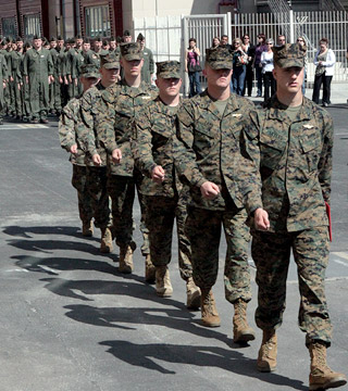 Service members marching in formation