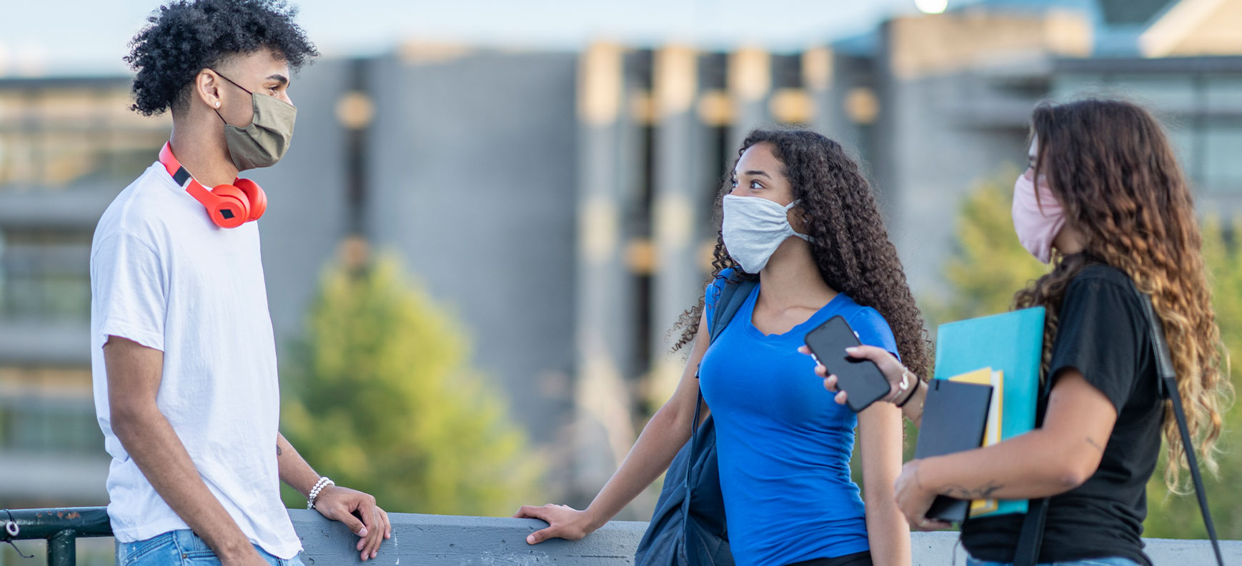 Photo of college students wearing masks